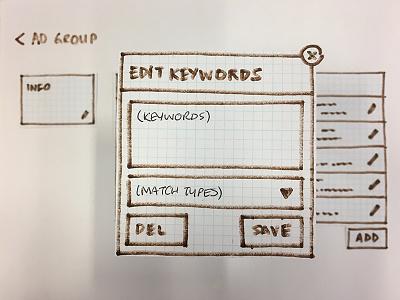 Edit Ad Group Keywords ui sem prototyping paper keywords adgroup