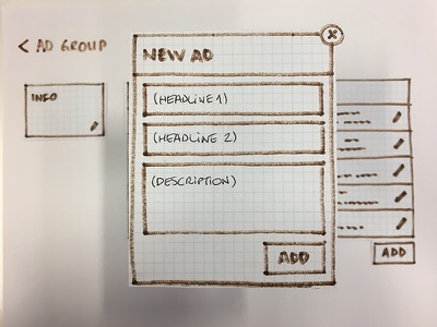 New Ad ui sem prototyping paper keywords adgroup