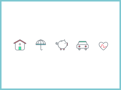 Insurance icons colorful icons illustrations