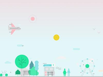 A fine day cute vector geometric web design illustration