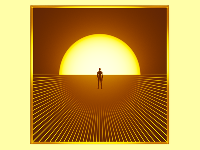 Point of Vanishing clean sunset lines 3d design abstract blender