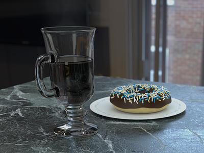 Fancy Breakfast kitchen 3d render donut coffee blender