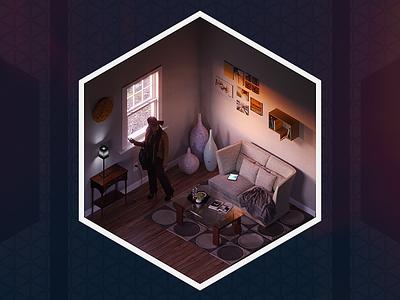 Morning Routine cube render living room character scene morning 3d blender isometric