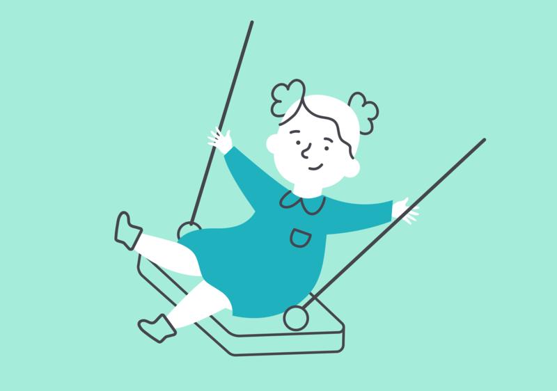 Swing! green nestle nan3 babygirl girl childsillustration kids character vector pheerg illustration