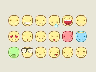 Emoticons sticker chat app vector photoshop icon-set icon emoticon