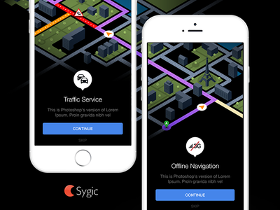 Sygic animated intro screen. vector city android ios intro navigation app sygic