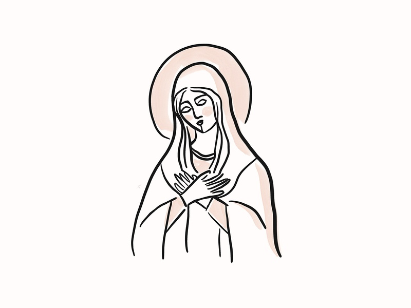 Blessed Mother saint illustration woman line art religious church theotokos orthodox catholic mother holy