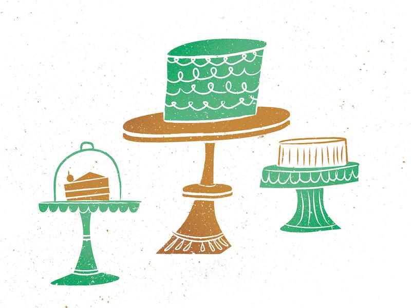 Cake cake pattern vintage illustration blue green yummy