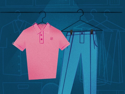 Pink Polo & Sky Blue Pants pink polo illustration pants blue retro vintage closet shoes lightbulb