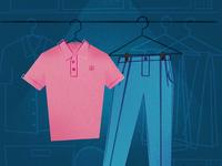 Pink Polo & Sky Blue Pants