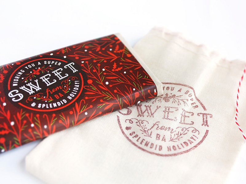 Wishing you a super sweet & splendid holiday! holiday christmas gift green red packaging chocolate stamp wrapper