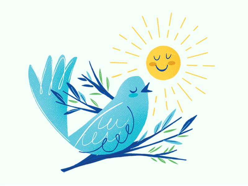 Spring is here! sticker slap stickers slapsticker blue sun spring bird