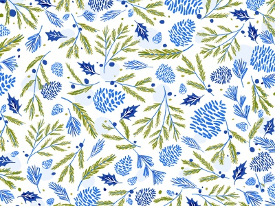 Woodsy Winter Pattern forest greenery winter flowers floral blue twigs pinecone pattern