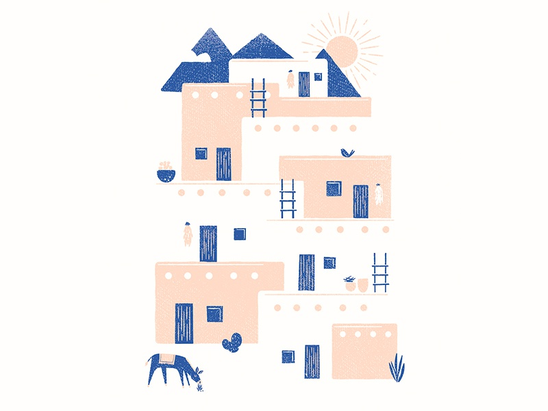 Home Poster cactus screen print donkey sun mountains rustic adobe new mexico southwest home poster