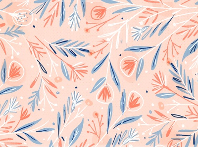 Flower Pattern organic leaves pattern feminine pink floral illustration flowers