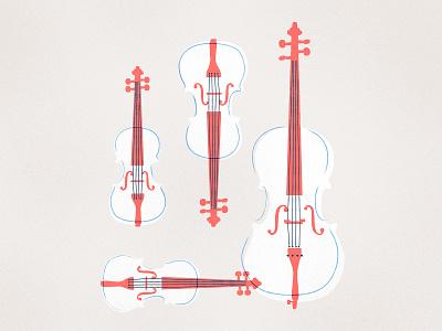 String Quartet Family vintage retro instrument illustration classical cello violin viola musical music