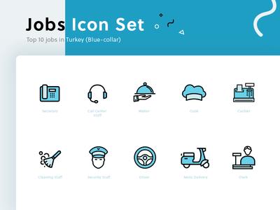 Jobs Icons flat outline set icon job