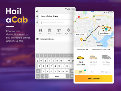 Easily hail a cab app mobile yellow car pin location map search taxi cab hail