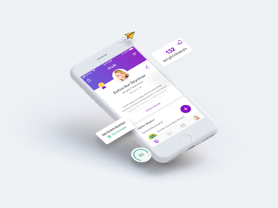 Mobile Resume Screen purple mobile app iphone section work employer job resume profile