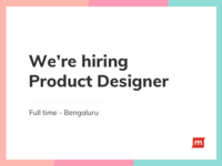 We are Hiring Product Designer