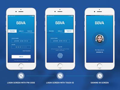 BBVA Banking App Login Screen ux user interface ui sign in screen login ios interaction design bank app account