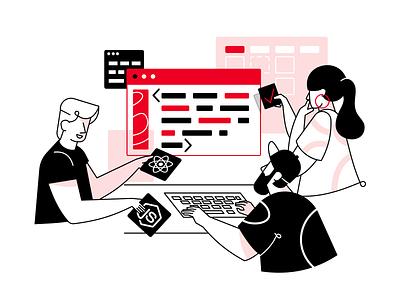 Development Process Illustration react.js node.js agency development agency development