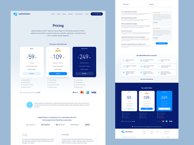Wp Data tables Pricing page pricing page pricing tables data