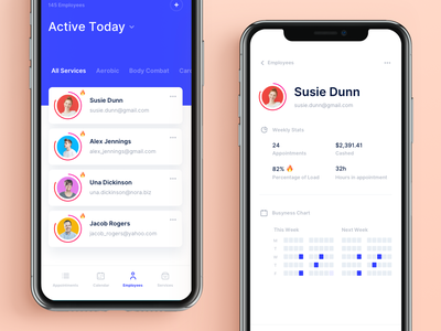 Employees screen appointment employees ios ios app