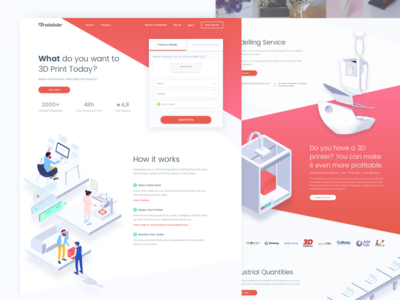 3D Printing Marketplace Website gradient angles homepage isometric website illustration colorful marketplace 3d 3d printing 3d printer 3d print