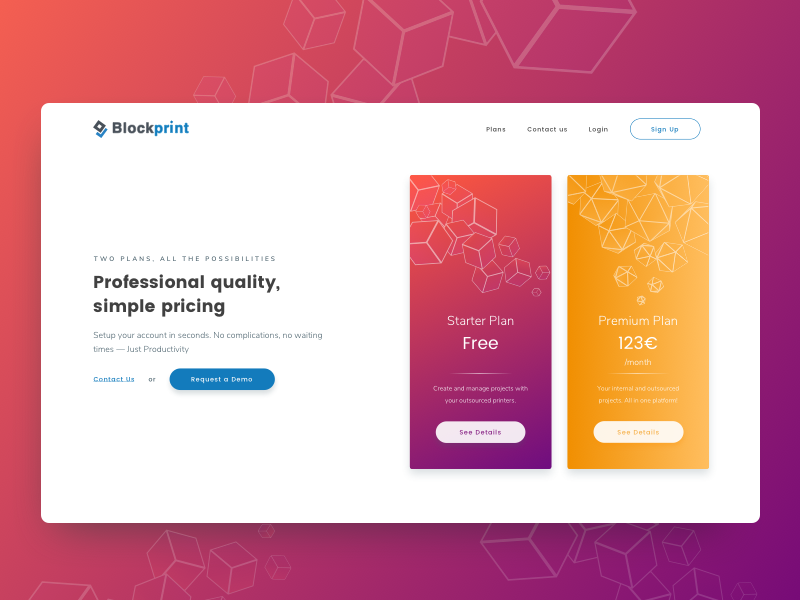Industrial and 3D Printing Web Platform - Pricing Plans 3d blockchain ui clean plans illustration forms features printing pricing