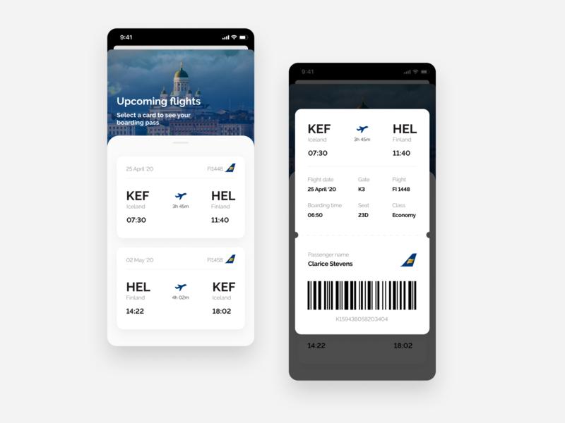 Boarding Pass - Daily UI #24 app design boarding ticket flight app clean ui clean boarding pass flight plane blue white ui daily ui