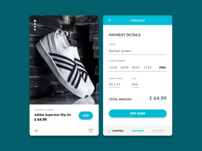 Credit Card Checkout - Daily UI #002 credit card checkout checkout daily ui store shoes cyan