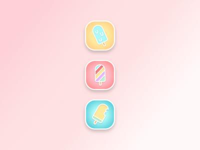 App Icon - Daily UI #005 blue yellow ice cream icecream icons app icon daily ui pastel pink
