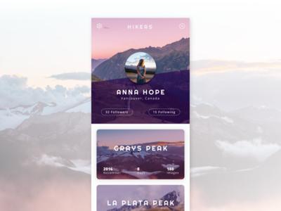User Profile - Daily UI #006 nature purple hiker hiking mountains profile ui daily ui user profile