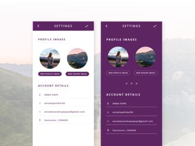 Settings - Daily UI #007 account profile hiker purple daily ui profile settings settings