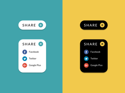 Social Share - Daily UI #010 white teal yellow black icons social share button social share daily ui