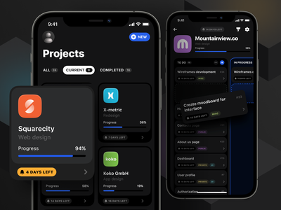 Projects view kanban board product mobile ios project management typography design ux clean app ui cards product design interface