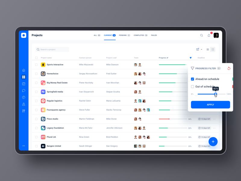 Project management tool: Projects interface data tool project management tool product design desktop filters table app dashboad