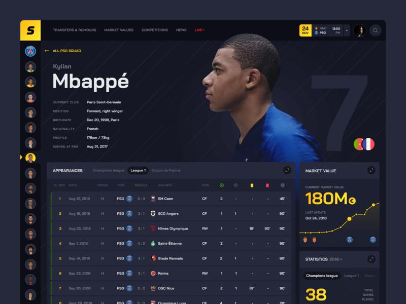 Sport transfers: Player profile transfers statistics football grid sidebar menu profile table design ui app sports interface