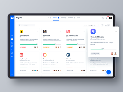 Project management tool: Projects. Card view desktop ui dashboard data filters sort sidebar product design web tool cards grid project management tool app interface