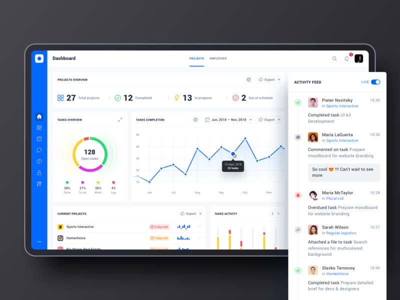Project management tool: Dashboard project management tool data interface product design sidebar menu table ux ui web clean graph diagram chart analytics cards app dashboad