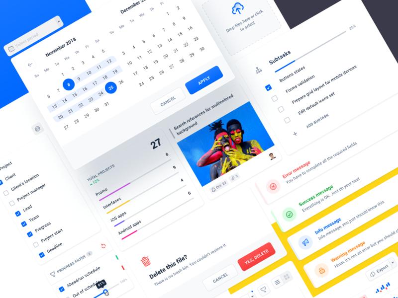 Project management tool: UI details interface clean project management tool modal cards calendar product design app ui kit ui  ux