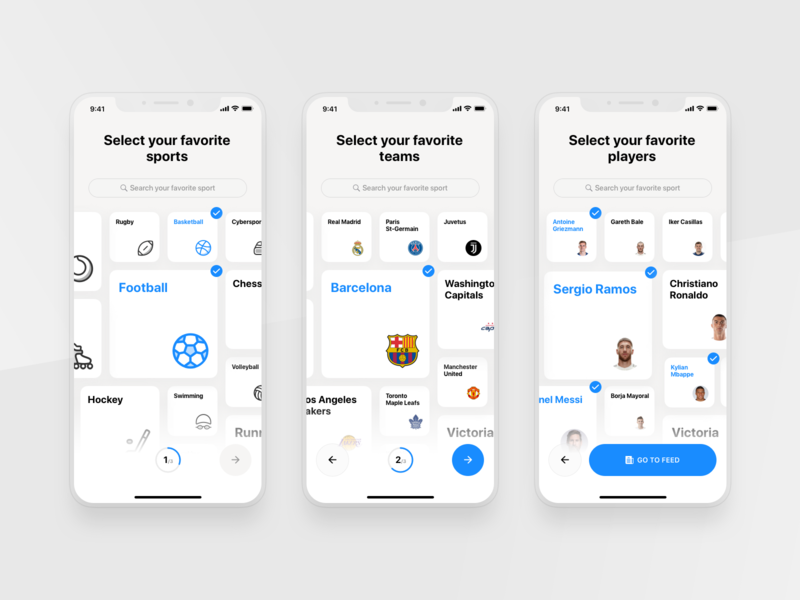 Rewind: User preferences basketball football sport book clean app cards wizard sports app clean user preferences product design interface