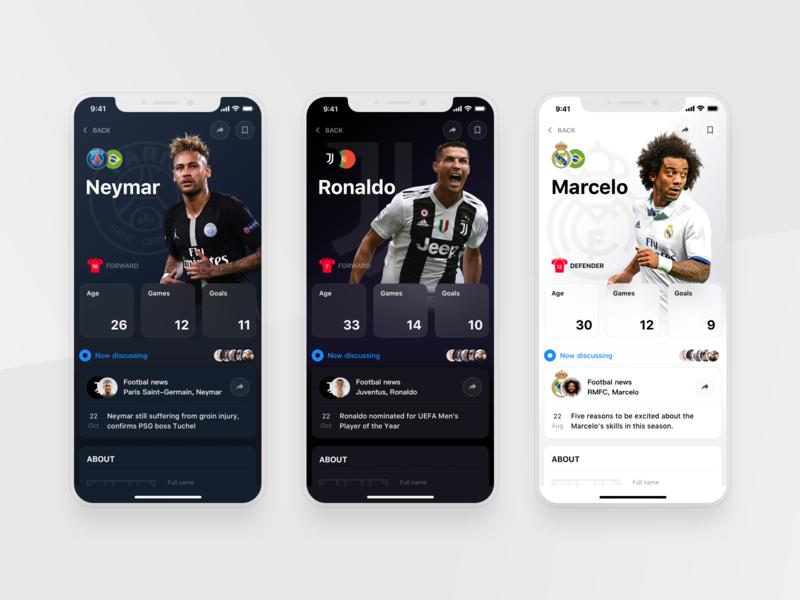 Rewind: Player profile ui  ux statistics iphone sports app ios football profile cards product design interface rewind
