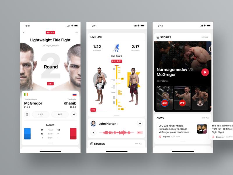 Rewind: UFC Live product design ui  ux sportbook dashboard statistics profile news timeline ufc sports app ios rewind cards interface