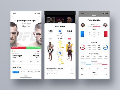 Rewind: UFC finished fight modal timeline sportbook profile ui  ux dashboard statistics ufc cards product design interface