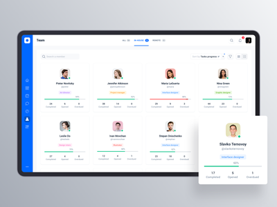 Project management tool: Team avatar navigation card view progress bar analytics user card user account ui design web app tool interface design data sidebar profile app dashboard cards product design interface