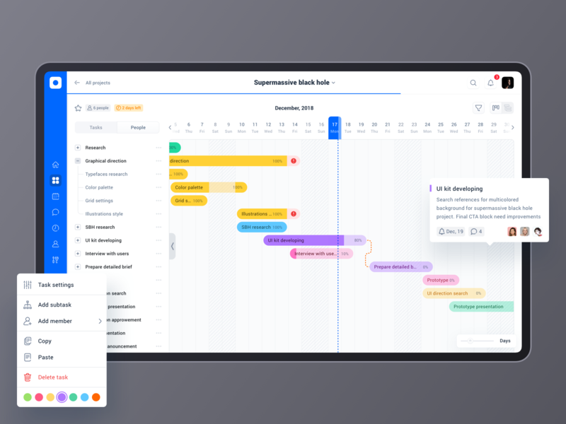 Project management tool: Project roadmap (Gantt chart) analytics table typography grid tool project management tool calendar menu graph gantt chart timeline roadmap sidebar design ui app dashboard cards product design interface