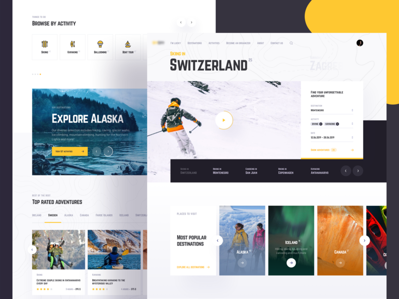 Travel Marketplace. Home page clean slider interface experience user typography search layout grid cards landingpage homepage web design uiux ux ui webdesign travelapp travel