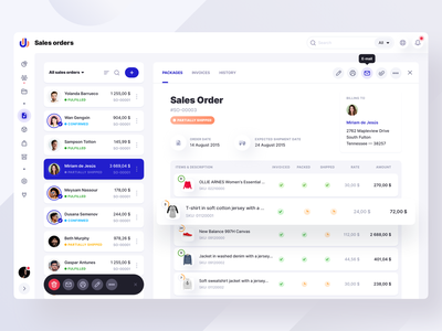 Sales orders page exploration. WIP sales page batch edit icons sidebar webdesign table typography grid navbar sales ui  ux design ux clean dashboard app ui cards product design interface